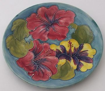 Walter Moorcroft Pottery Hibiscus Flowers Plate